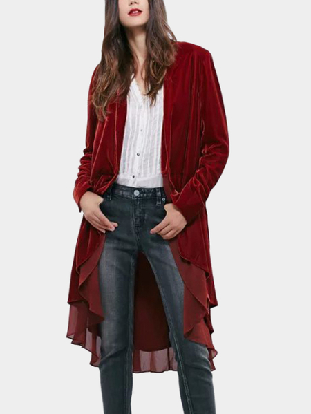 Red Chiffon Ruffles Details Layered Trench Coats
