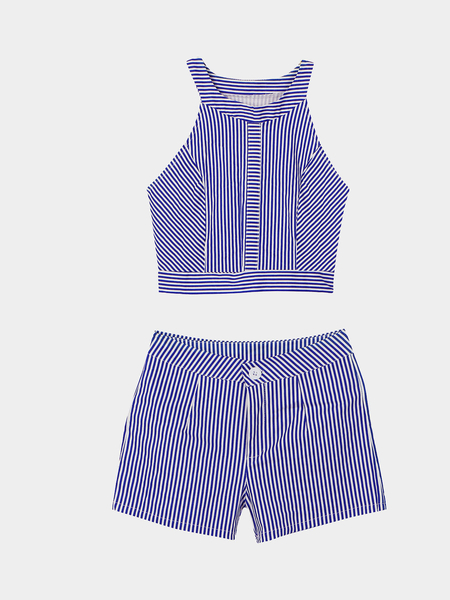 Stripe modello girocollo maniche Top & Shorts Co-ord
