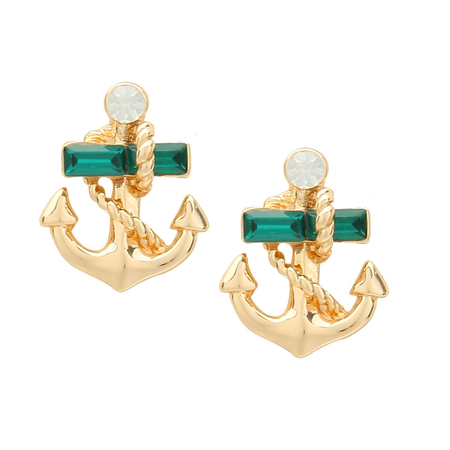 Embellished Diamond Anchor Stud Earrings