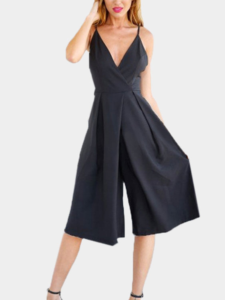 Black Cross Front V-neck Backless Jumpsuit With Shoulder Straps