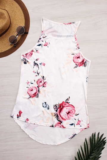 White High Neck Random Rose Print Cami Top