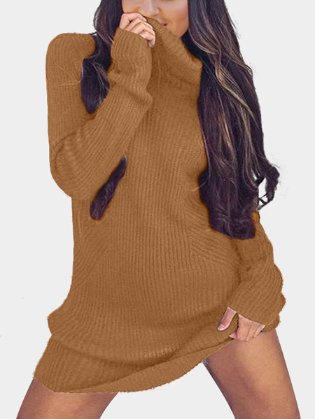Dark Gold Sexy High Neck Long Sleeves Knit Casual Dress