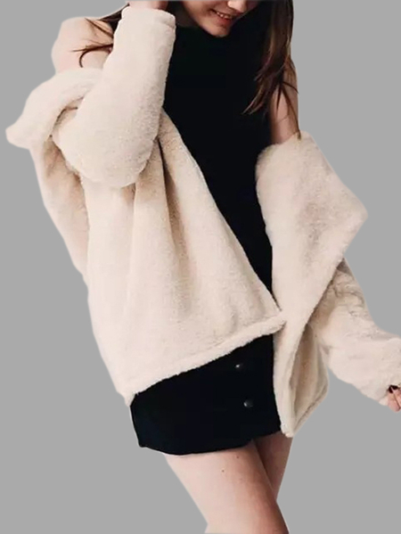 Fashion Beige Fur Midi Length Hooded Coat