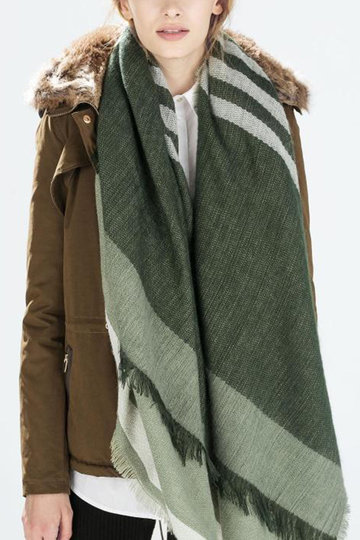 Fashion Green Stripe Printing Shawl Scarf with