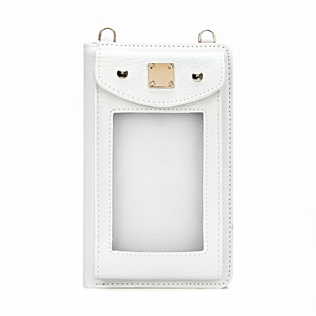 Foldover Leather-look Zip Around Mobile Purse em branco