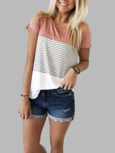 Pink Stitching Stripe Pattern T-shirt with Contrast Color