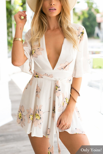 Floral Print Plunge V-neck Playsuit with 1/2 Length Sleeves