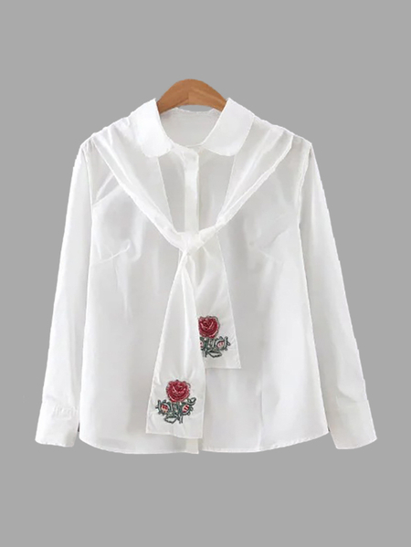 Rose Embroidery Pattern Shirt with Self-tie Design