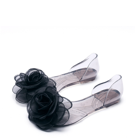 Black Silk Floral Decoration Transparent Flat Sandals
