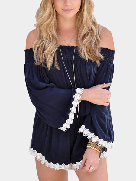 Navy Off-The-Shoulder Crochet Lace Hem Playsuit