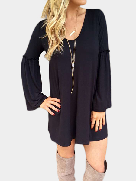 Black Scoop Neck Bell Sleeve Casual Dress