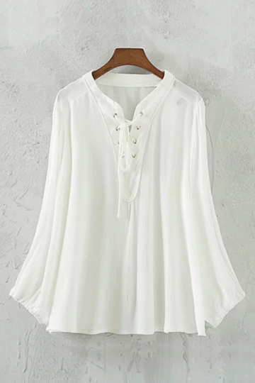 White Semi Sheer Lace-up Blouse with Long Sleeves