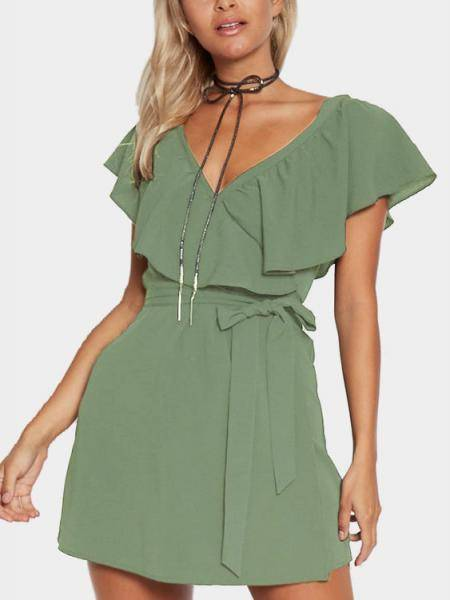 Vert V-Neck Flounced Design Auto-Tie Waist Mini-robe
