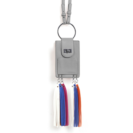 Grey Fashion Leather Look Phone Bag With Multi-colored Tassels