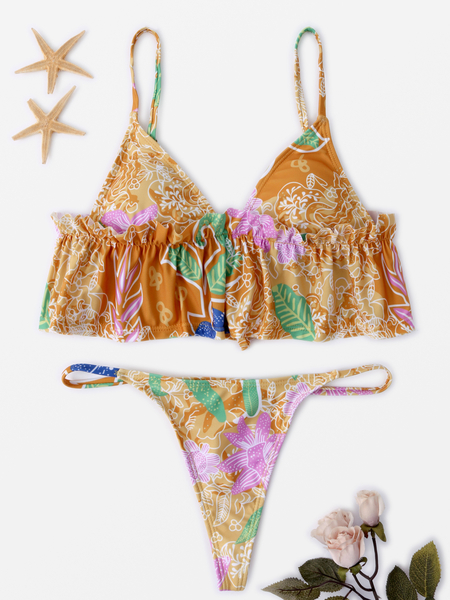 Floral Print Tie-up back Flounce String Bikini in Brown