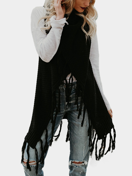 Black Open Front Sleeveless Cut Tassel Hem Open-knit Cardigan