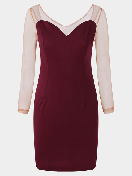 Burgundy See-through Mesh Round Neck Long Sleeves Sexy Mini Dress