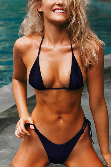 Lace-up Triangle Bikini Top & Bottoms Set in Navy