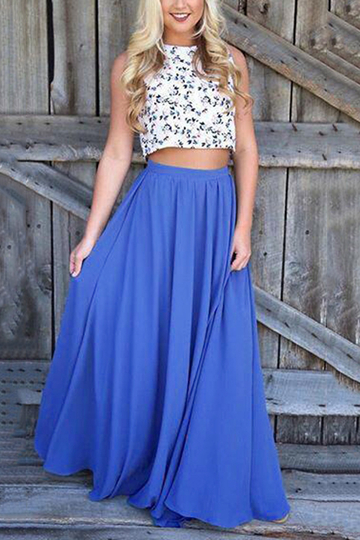 Elastic High-rise Floor Length Skirts in Blue