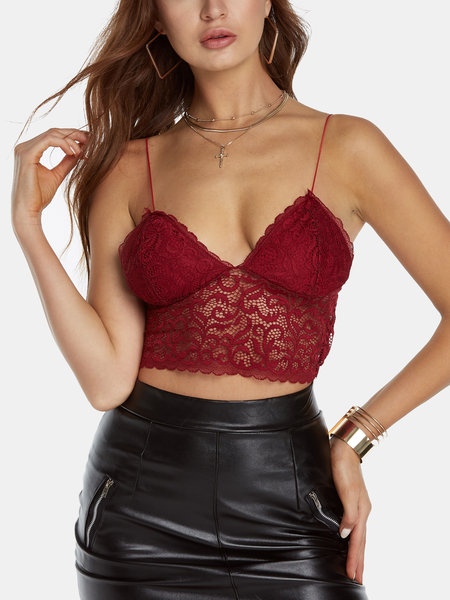 Red Backless Design V-neck Sleeveless Crop Top