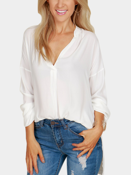 White Splited Design V-neck Long Sleeves Irregular Top