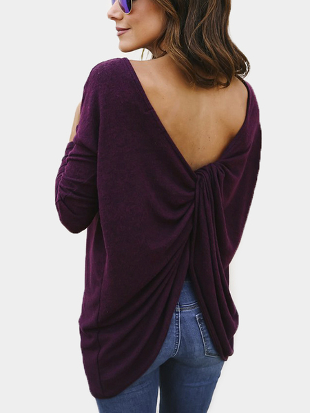 Purple Solid Color Twisted Back Long Sleeves T-shirt