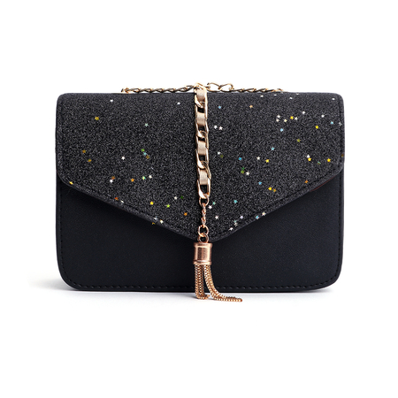 Black Star Tassel Glitter Corssbody Bag
