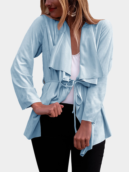 Blue Casual Ruffled Collar Waist Tie Irregular Hem Jacket