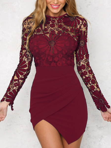 Burgundy Irregular Hem Long Sleeves Mini Dress with Lace Details