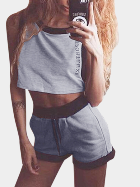 Grey Fashion Sleeveless Drawstring Waist Co-ord