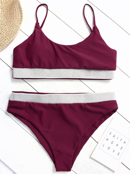 Burgundy Spaghetti Scoop Neck High Waist Bikini