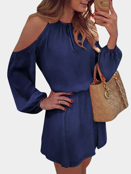 Blue Cold Shoulder Long Sleeves Chiffon Dress with Open Back Design