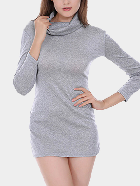 Grey Long Sleeve High Neck Mini T-shirt  Dress