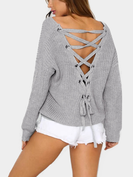 Grey Lace-up Back Design V-neck Loose Sweaters