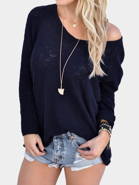 Navy Sexy V Neck Long Sleeves Knitted T-shirt