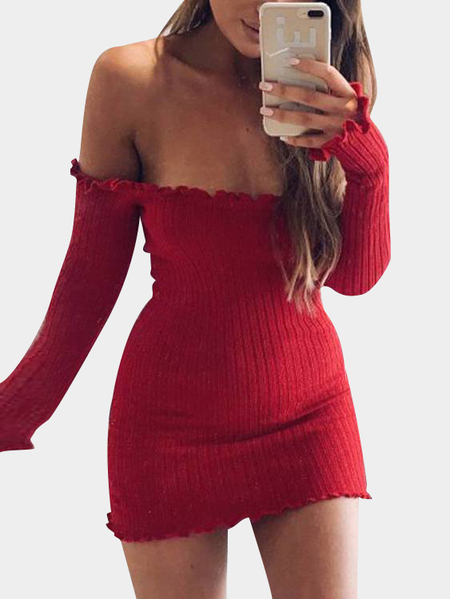 Rojo Off-The-Shoulder Frill Hem Suéter Vestido de punto