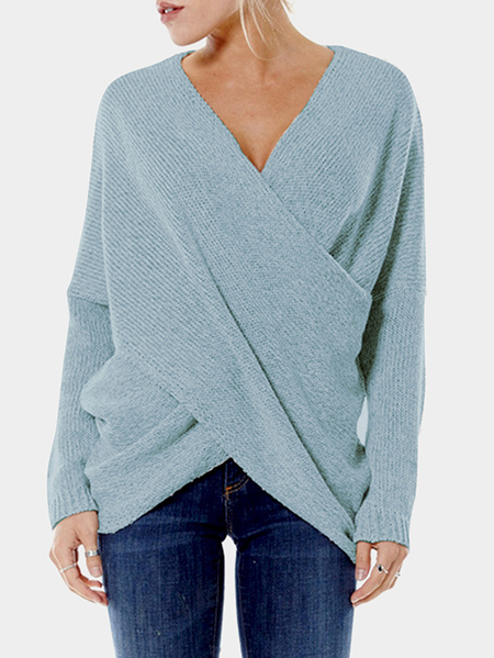 Sky Blue Cross Front V-neck Irregular Hem Jumper