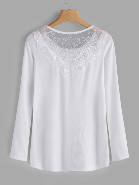 White Lace Details Round Neck Long Sleeves T-shirts