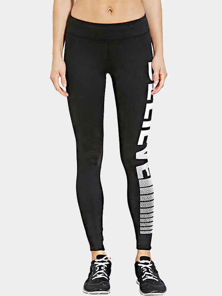 Black Sport Leggings with Letter Print