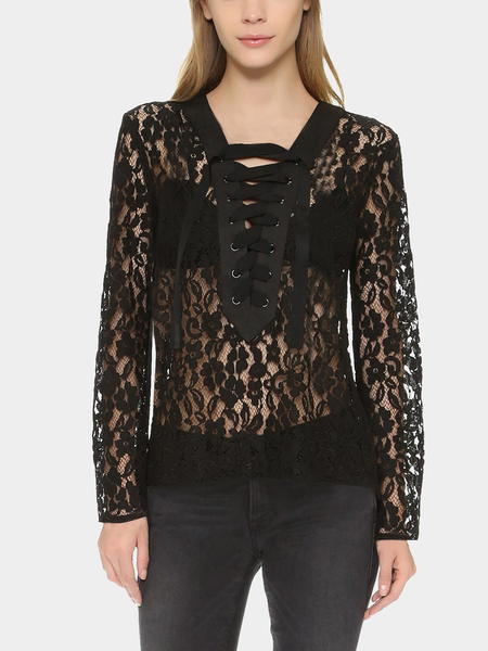 Black See-through Lace Blouse with Lace-up Design