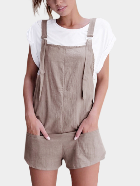 Casual Sleeveless Overalls Romper in Grey