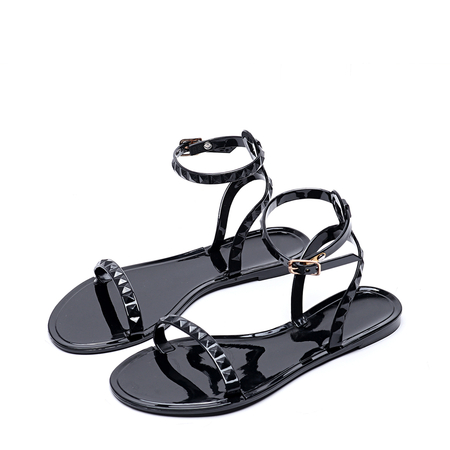 Black Fashion Ankle Strap Flat Sandals