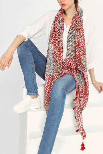 Red Fashion Tassel Design Multifunctional Scarf