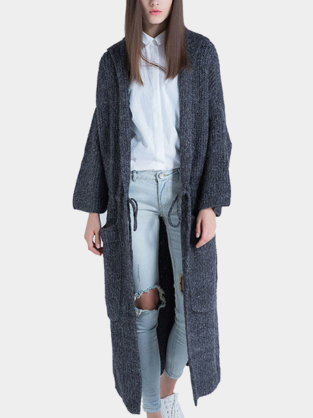 Knitted Hooded Cardigan with Drawstring Waist in Dark Grey
