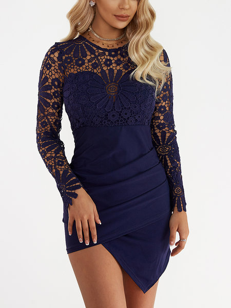 Wrap Front Irregular Hem Long Sleeves Mini Dress with Lace Details