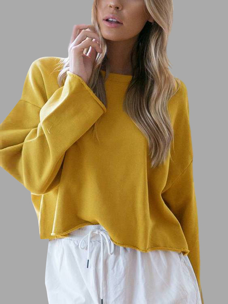 Ginger Yellow Simple Long Sleeves Sweater
