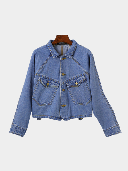 Light Blue Fashion Button Closure Pockets Denim Jacket