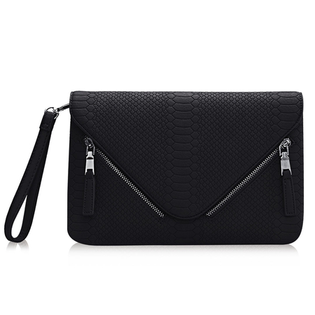 Serpente Efeito Envelope Clutch Bag in Black