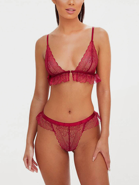 Burgundy Frill Lace Details See-through Sexy Lingerie Set