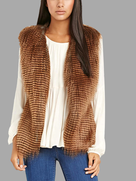 Side-Paneled Fur Vest in Brown